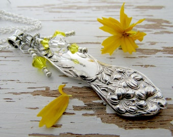 Spoon necklace - recycled silverware upcycled gifts - sunshine yellow - crystals - bridal party wedding gifts - unique necklace silver