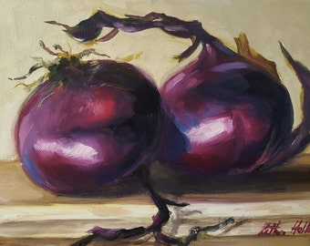 Two Red Onions on a Weathered White Ledge- Original Still Life Oil Painting- Kitchen Food Art- Purple Vegetable Oil Painting
