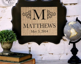 Wedding Gift Ideas Remarriage : family name sign wedding shower gift burlap wall decor newlyweds gift ...