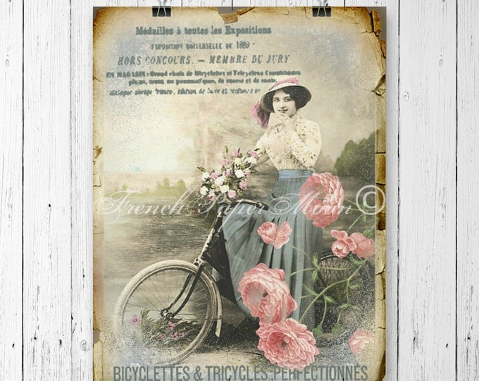 Shabby Victorian Lady on Bike, French typography, French Iron on Fabric, Pillow Transfer
