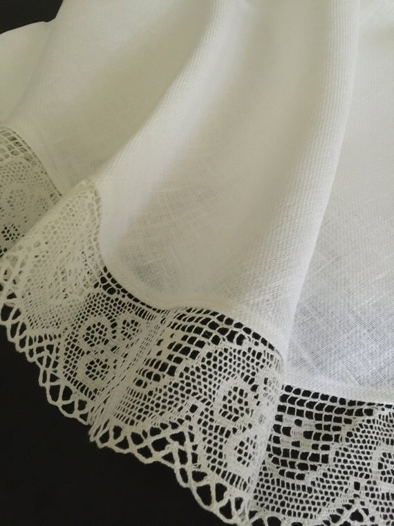 linen tablecloth round tablecloth linen lace white ivory 63. Black Bedroom Furniture Sets. Home Design Ideas