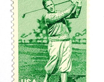 10 Unused Vintage Golf Postage Stamps // Golfer Bobby Jones Stamps // 18 Cent Green Golfing Stamps for Mailing