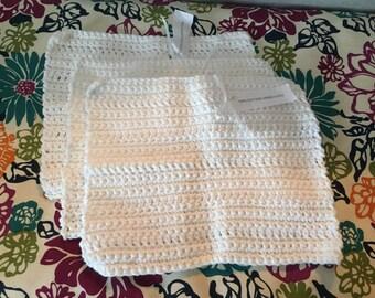 White cotton crochet kitchen dishcloth