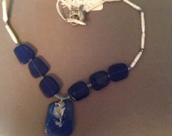 Necklace Seaglass Seahorse Swarovski Crystals Fresh Water Pearls