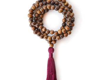 Brown Wood Mala Beads, 108 Meditation Necklace, Plum Burgundy Tassel Yoga Beads