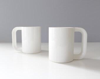 2 Heller Massimo Vignelli Mugs White Melamine Maxmug Stackable