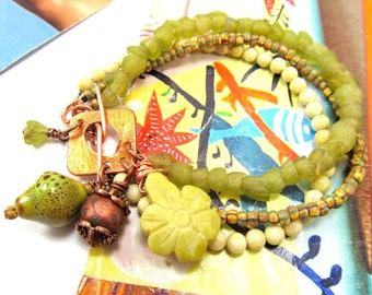 Tribal Beaded Bracelet, Handcarved Jade Flower, Ghana Glass Tulip Beads, Yellow & Green Multi-Strand Bracelet, Copper Festival Bracelet