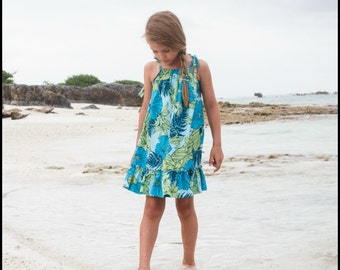 Girls Hawaiian Dress - Turquoise Hibiscus and Foliage - Hawaiian Dress - Toddlers and Girls