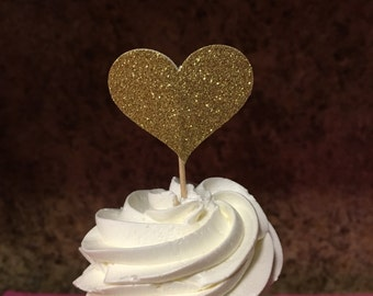Glitter Gold Heart Toppers
