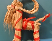 Swedish retro vintage 1950s smaller HANDMADE Christmas decoration straw-buck with red bands