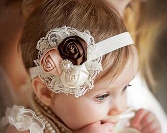 Vintage lace satin rosette pearl rhinestone elastic headband hair clip birthday photo prop