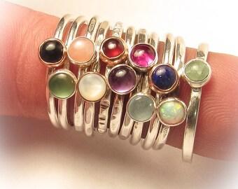 Semi Precious, Stack Ring,  Mom Ring, 4mm, turquoise, garnet, black onyx, Opal, Aventurine, Mother Ring, Birthstone Ring