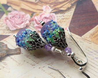 Lampwork Glass Earrings, Lavender Blue Earrings, Vintage Style Earrings, Artisan Lampwork Earrings, Antiqued Silver, Sterling Silver Hooks