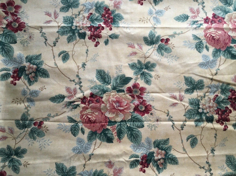 Vintage Waverly Cabbage Rose Amp Berry Canvas Upholstery