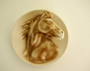 Chalkware Plaster Relief Chestnut Sorrel Horse Head Wall Hanging