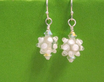 White bumpy Lampwork and Swarovski Crystal earrings