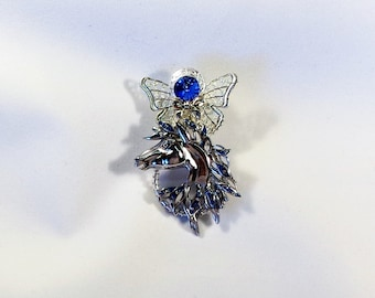 Horse Lover Silver and Blue Angel Pin