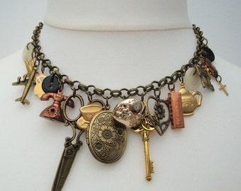 Statement charm necklace - vintage charms assemblage - bronze, brass Junkyard Angel #2