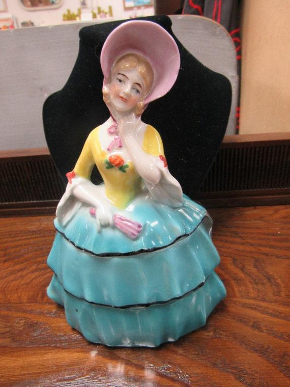 Lady figure vanity jar made in Germany