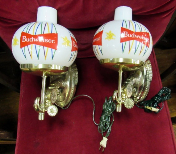 Budweiser wall sconce milk glass lamps mint in box