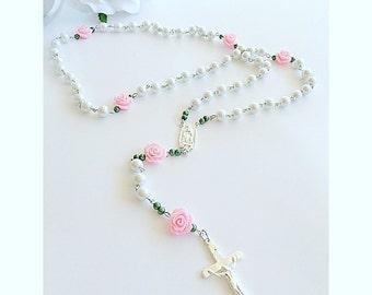 Pink~Rose Rosary.