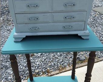 Shabby Chic Almost Blue Jewelry Box