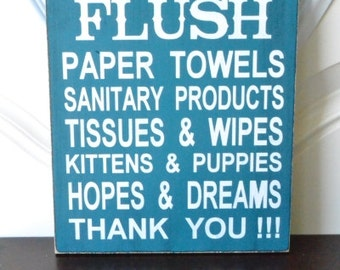 Do Not Flush, Septic System Rules Sign, Bathroom Decor, 9x12 Wood Sign, Choose your colors!