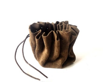 Leather drawstring pouch, Drawstring leather pouch, Coin Purse, Milk chocolate color, Tobacco pouch, Key pouch, Money pouch, Pouch bags