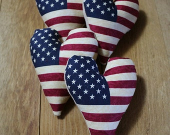 Patriotic Primitive Flag Heart Bowl Fillers