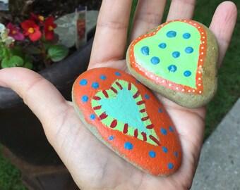 hand painted heart beach stone set, beach painted stone,  boho decor, beach decor, bright heart artwork, gifts under 20