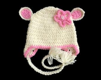 Baby Lamb Hat, Lamb Animal Baby Hat, Newborn Winter Hat