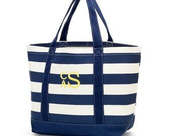 Monogrammed Tote Bag - Beach tote - Overnight Tote - Personalized Tote - Navy Blue Stripe
