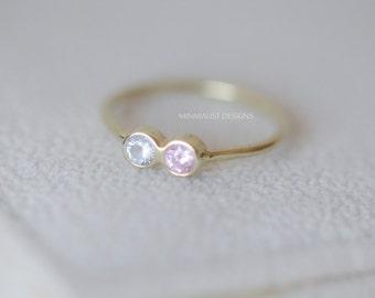 Solid 14k gold, Birthstone rings, Dual birthstone ring. two birthstone ring. gemstone couples ring.  mothers ring
