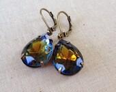Vintage navy blue and topaz rhinestone earrings, tear drop, pear, rhinestone, earring, rustic, wedding, something blue, navy, topaz, jewelry