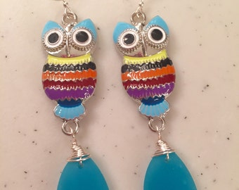 Multi colored owls with blue wire wrapped sea glass earrings.
