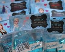 INSTANT DOWNLOAD . Disney FROZEN Valentine's Day Cards . Classroom Cards . Valentine Treat Bag Topper . Elsa . Olaf . Valentine's Day