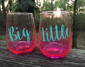 Personalized Big Little Wine Glass Set, Big Lil Wine Glass, Big Little, Sorority Sister Gift, Sorority Wine Glasses