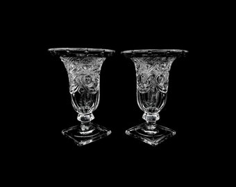 """A pair of vintage Heisey glass """"Ipswich"""" candle holder vases"""