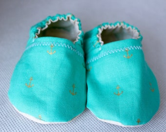 Baby Booties Turquoise Anchors
