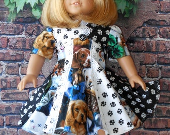 "Handmade Dress for 18"" American Girl DOGS PUPPIES CATS Kittens Paw Prints Lace"