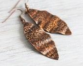 Copper Earrings, Copper Hammered Earrings, Leaf Earrings, Copper Jewelry, Long Earrings, Copper Dangle Earrings, Unique Gift, Fashion Gift