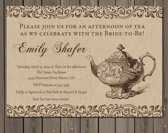 Bridal Shower Tea Party Invitation, Rustic Bridal Tea Invitation, Burlap and Filigree Bridal Shower, Printable or Printed