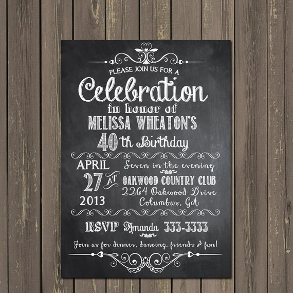 Chalkboard Adult Birthday Party Invitation Th Th Th St