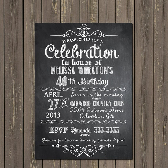Chalkboard Adult Birthday Party Invitation, 30Th, 40Th, 50Th, 21St
