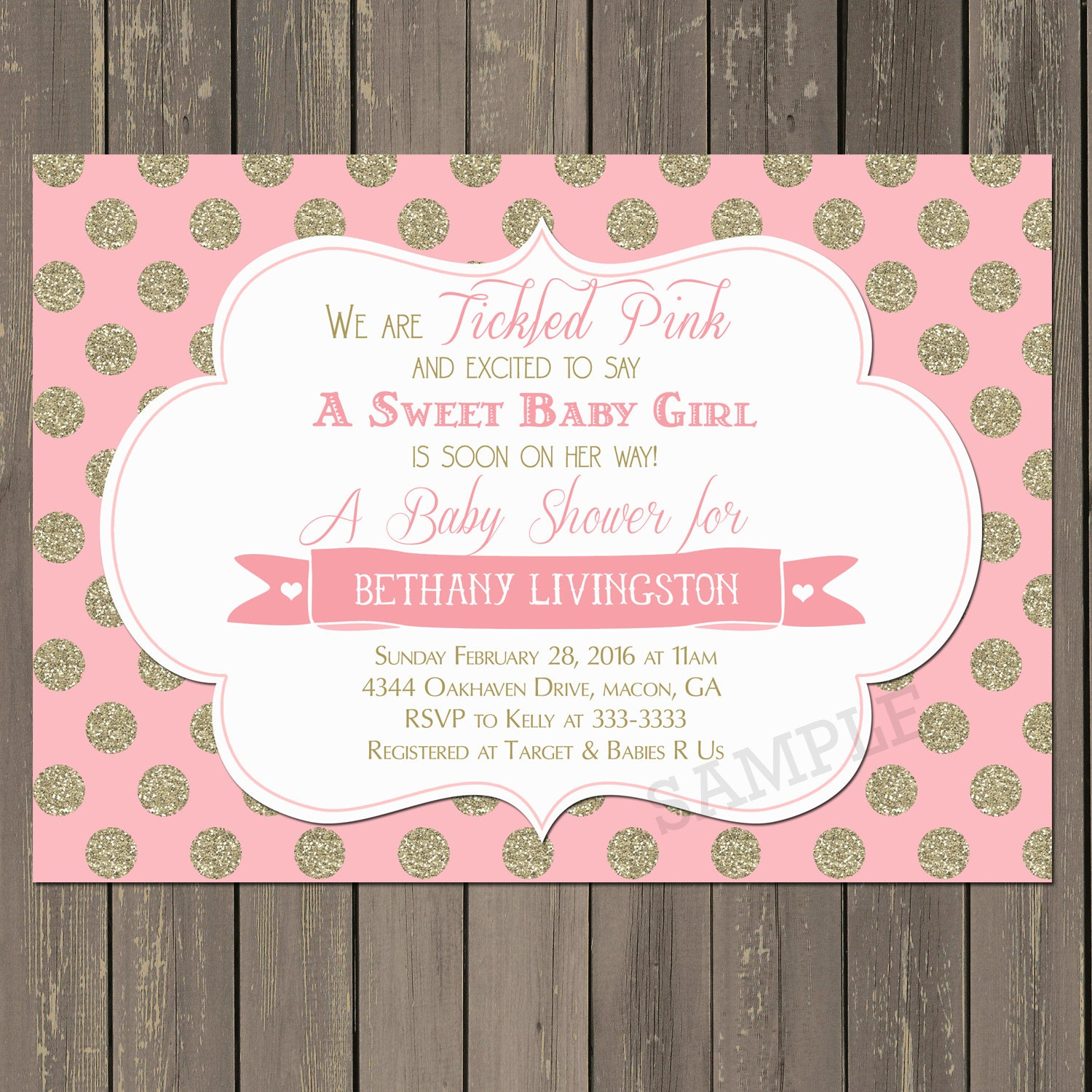 pink and gold baby shower invitation tickled pink baby shower