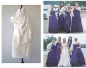 Ivory Wedding Shawl, Brides Shrug, bridal scarf, Bridesmaid Gift, SET OF 4