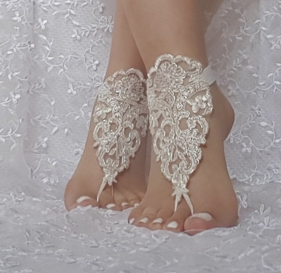 Free Ship bridal beach wedding barefoot sandals, bangle, ivory silver beach wedding barefoot sandals, wedding bangles, anklets, bridal