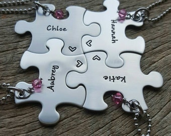 Puzzle Piece Necklace  Name and Stone Personalized Hand Stamped Customizable Necklace Bridesmaid Graduation Best Friends