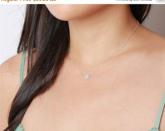 ON SALE Sterling silver diamond necklace - sterling silver necklace - simple elegent everyday necklace