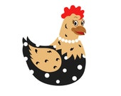 SVG Chicken With Necklace Hen Farm Cuttable File - INSTANT DOWNLOAD - for use with silhouette cameo, cricut, Sizzix, other machines